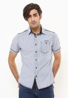 Slim Fit - Kemeja Fashion - Motif Salur - Biru