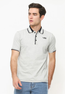 Slim Fit - Polo Shirt - Aksen Ring Hitam - Abu