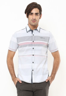Slim Fit - Kemeja Fashion - Motif Bergaris - Putih