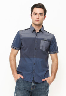 Slim Fit - Kemeja Fashion - Color Block - Biru