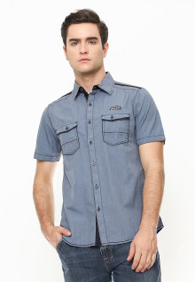 Slim Fit - Kemeja Fashion - Double Pocket - Abu-Abu