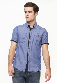 Slim Fit - Kemeja Fashion - Semi Denim - Akses Ring - Biru