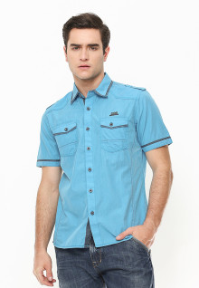 Slim Fit - Kemeja Fashion - Aksen Abu - Biru