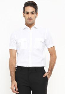 Slim Fit - Kemeja Formal - Motif Basic - Lengan Panjang - Biru