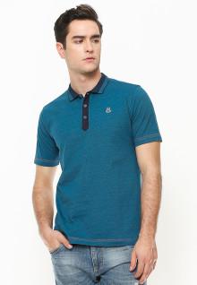 Slim Fit - Polo Shirt - Motif Placket - Biru