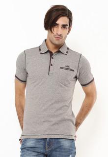 Regular Fit - Polo Shirt - Aksen Ring Coklat - Abu