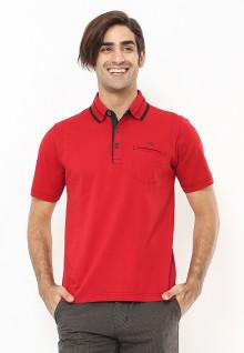 Regular Fit - Polo Shirt - Kerah Hitam Aksen Ring - Merah