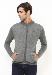 Body Fit - Sweater Pria - Corak Penuh - Full Zipper - Abu