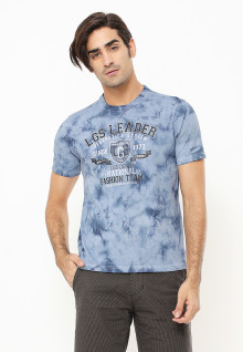 Slim Fit - Kaos Fashion - Motif Abstrak - Biru