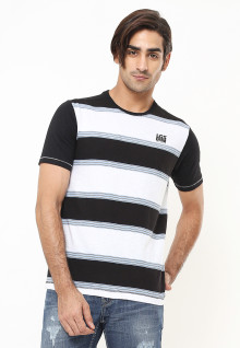 Slim Fit - Kaos Fashion - Color Block - Putih