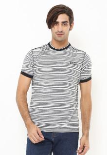 Slim Fit - Kaos Fashion - Motif Salur - Aksen Ring - Abu