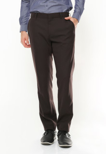 Slim Fit - Formal Pants - No Biku - Double Back Pocket - Coklat