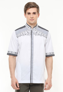 Baju Koko - Motif Bordir Abu - Dua Kantong - Putih - Regular Fit
