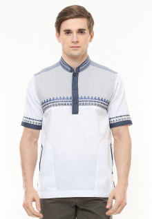 Baju Koko - Motif Bordir Biru - Putih - Slim Fit