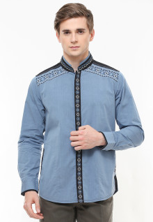 Baju Koko - Motif Bordir - Dua Kantong - Biru - Regular Fit