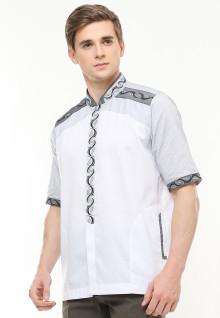 Baju Koko Motif Bordir Abu - Putih - Regular Fit