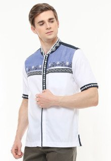 Baju Koko Motif Placket - Variasi Warna - Putih - Slim Fit
