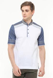 Best Seller - Baju Koko Motif Bordir - Kancing Tiga - Putih - Slim Fit