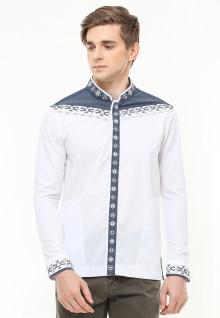 Baju Koko Motif Placket - Kantong Dua - Putih - Slim Fit