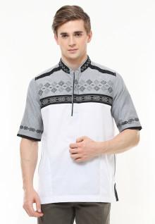 Baju Koko Motif Bordir - Color Block - Abu - Regular Fit