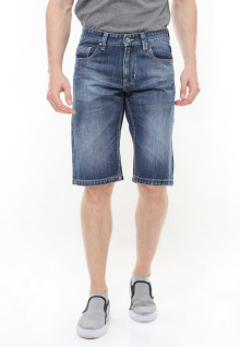Slim Fit - Jeans Bermuda - Whiskers - Washed - Biru