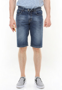 Slim Fit - Jeans Bermuda - Washed - Whiskers - Biru