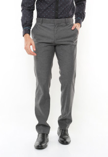 Slim Fit - Celana Formal - Two back Pocket - Abu Cerah