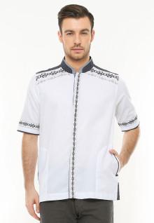 Regular Fit - Baju Koko - Motif Bordir - Aksen Hitam - Putih