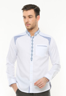 Slim Fit - Baju Koko - Aksen Biru - Motif Bordir - Putih