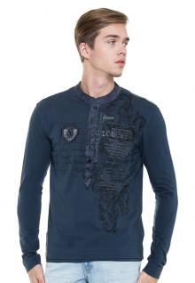 Slim Fit - Kaos Casual Henley - Biru - Lengan Panjang - Logo
