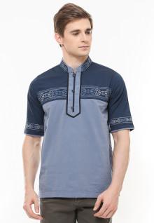 Regular Fit - Baju Koko - Motif Bordir - Kancing Tiga - Biru