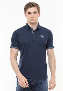 Slim Fit - Polo Fashion - Aksen Ring - Tiga Kancing - Biru Navy