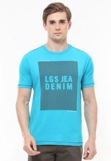 Slim Fit - Kaos Fashion - Gambar Sablon - LGS Denim - Biru