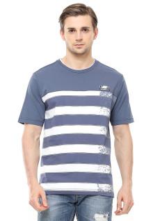 Regular Fit - Kaos Casual - Motif Garis - Logo LGS - Biru