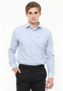 Regular Fit - Kemeja Formal - Salur Halus - Lengan Panjang - Biru