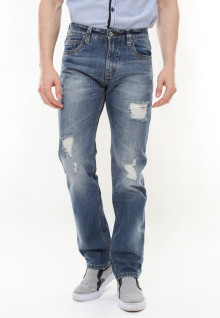Slim Fit - Jeans Premium - Aksen Washed - Ripped Details - Biru