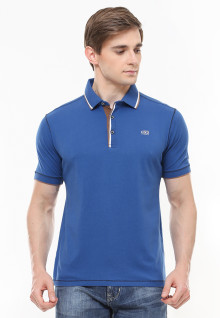 Slim Fit - Polo Fashion - Kerah Variasi Warna - Biru
