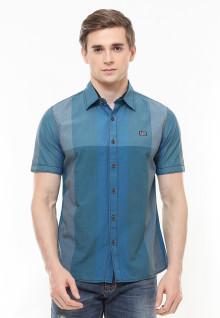 Slim Fit - Kemeja Fashion - Color Block - Biru