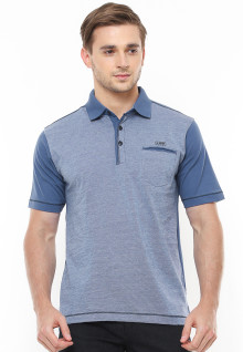 Regular Fit - Polo Shirt - Contrast Collar - Kantong Satu - Biru