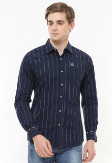 Slim Fit - Kemeja Casual Active - Motif Salur - Biru Navy