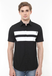 Slim Fit - Kemeja Casual Active - Motif Garis Putih - Hitam