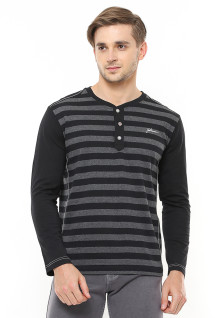 Slim Fit - Henley Casual Active - Motif Garis - Hitam