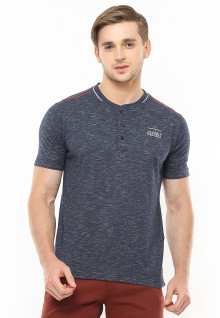 Slim Fit - Henley Casual Active - Full Tekstur - Abu