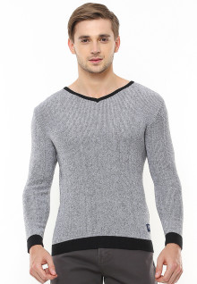 Body Fit - Sweater Casual - Kerah Vneck - Aksen Ring - Abu