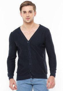 Body Fit - Sweater Active - Kerah Vneck - Model Kancing - Hitam