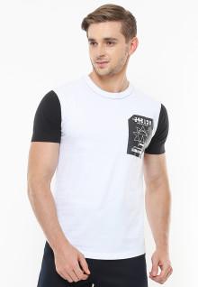 Slim Fit - Kaos Casual Active - Lengan Kontras Hitam - Putih