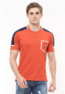 Slim Fit - Kaos Casual Active - Kombinasi Warna - Orange
