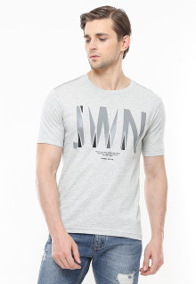 Slim Fit - Kaos Casual Active - Logo Johnwin - Abu