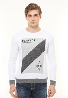 Slim Fit - Kaos Casual - Sablon Salur - Lengan Panjang - Putih