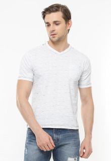 Slim Fit - Kaos Casual Active - Bahan Corak - Vneck - Abu